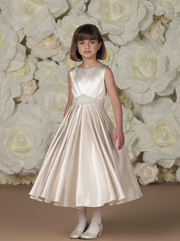 Uma simples linha recortada chá- comprimento trecho de cetim drapeado beading vestidos flor menina 2014 vestidos de primeira comunhão