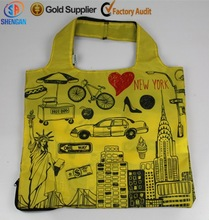 colorful heat transfer printing 210D folding shopping bag for promotion item