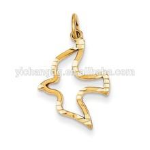 14k Yellow Gold Satin & Diamond-cut Dove Charm