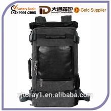 Mens Leather Vintage Canvas Backpack Shoulder Travel Camping Bag