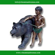 2015 new design garden decor bronze bronze bear figure