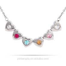 6 Stone Family of Hearts Custom Birthstone Necklace