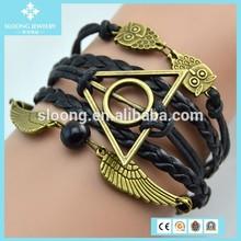 Snitch Owl Black Bead Boy And Girl Friendship Bracelets For Sale