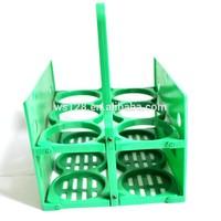 customized good quality green color 6 pack plastic bottle holder/ plastic wine carrier for glass bottle/beer bottle carrier
