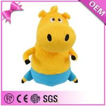 Handmade sassy short plush yellow cartoon character hippo soft toy
