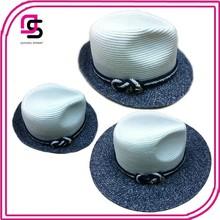 Navy Summer Beach Paper Straw Fedora Hat