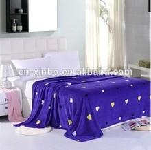New arrival plain purple heart print coral fleece blanket, king size blanket