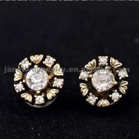 Big Sale 2015 zinc alloy gold plating women earrings mini crystal stud earrings