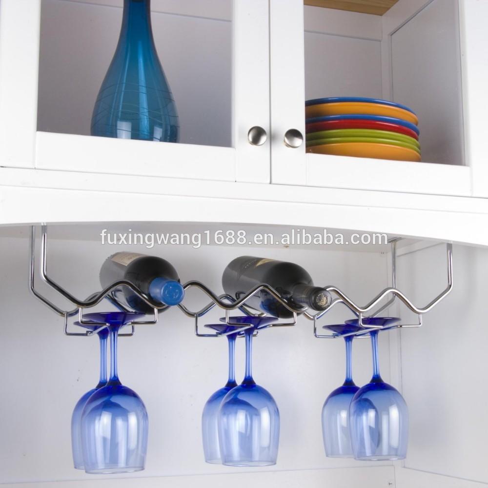 Forg fer vague conception sous l 39 armoire porte verre de vin suspendus - Porte verre suspendu ...