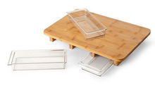 Wood Cutting Board, Bamboo Chopping Board with Three Compartments, Cutting Board with Drawer