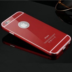 Hot selling! Luxury Acrylic cover and metal bumper case for iPhone 6 Plus