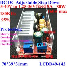 12v to 3.3V converter buck module dc to dc 5-40v to 1.25-36v ,12v to 5v 24v to 5v 24v to 12v .fixed current 8A ,80W 160Wmax