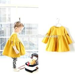 spring solid color girls round nack lovely full-skirted long sleeve evening dress online shopping
