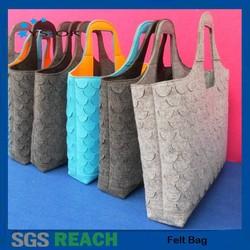 Wholesale 2015 new fashion colorful 100% polyester handmade felt tote bag