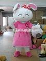 Linda rosa coelho mascote, rosa coelho trajes da mascote