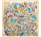 140*140 fan dance pattern 100% silk scarves/stole/shawl