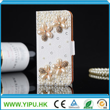 Innovative hot sell rhinestone cover for iphone 5 5S leather case