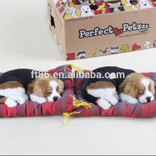 Antiuqe brush animal ornaments lifelike sleeping dog toy on pillow