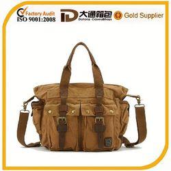 khaki stylish canvas tote messenger bag