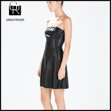 2014 fashion womens garment dyed leather dress sexy off shoulder ladies leather dress
