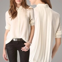 Turn down collar seda das mulheres camisa com especial voltar padrão
