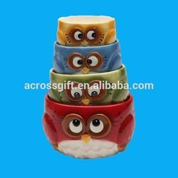 Owl Design porcelain measuring cups