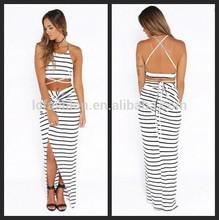2015 Lady Black and White Stripe Two piece Set Skirt