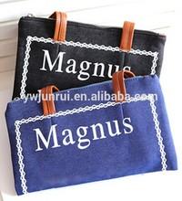Export big brand designer soft matercial handbags print words cowboy cloth shopping bags