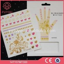 "Bling hand sticker tattoo 6.4""x4.5"" popular tattoo body stocking"