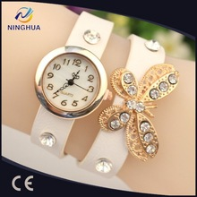 Retro Vintage Type Women's Butterfly Pendant Rhinestone Leather Bracelet Quartz Wrist Watch Clock