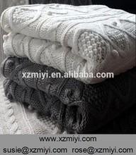 Chunky Black woven wrap, Geometric stripes knit throw wrap blanket