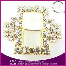 2015 hot sell 2012 golden mini-sandal decorations buckle fashion Round Crystal Rhinestone buckle for wedding ribbon slider