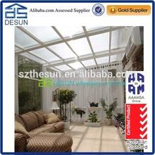 Slant roof outdoor glass sun house for villa