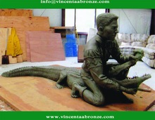 Hot sale China brand wholesale bronze alligator yard decor
