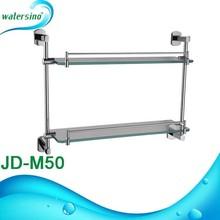 chrome glass bathroom corner shelf double tierJD-M50