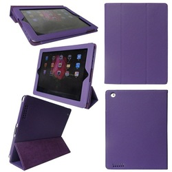 Purple Auto sleep function hot selling genuine leather case for ipad 4 3 2