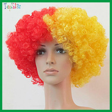 2015 Factory Wholesale Party Supply Red and Yellow Afro Wig