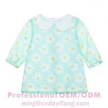 Little girls sweet chiffon floral tops middle sleeves shirts blouse