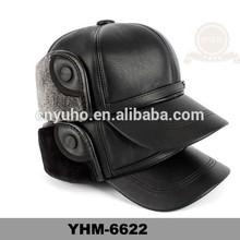 Winter faux leather plain dyed earflap cap&hat for men's design wholesale