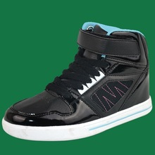 BH096557 warm black high cut sports shoes for children with magic sticker