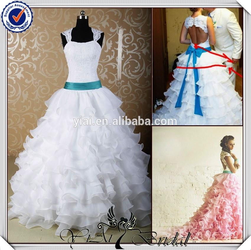 Jj3690 mais novo tradicional azul sash new vestido de noiva com moradia saia