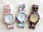 Wholesale Quartz Movement Alloy Case Flowers Print Lady Fashion Japan Movt Quartz Watches