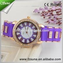 Newest Crystal Dial Diamond Wrist Geneva Watch Silicone