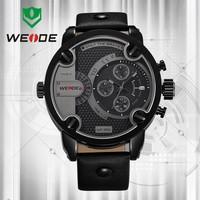 Limited!WEIDE New Men's Quartz Leather Strap Sports Military Watches Luxury Brand Quartz Watch 3ATM Water Resistant