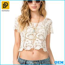 Latest design crew neck short sleeves crochet crop top/Fashion sheer crochet tank top 2014