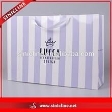 Sinicline 2015 New Design Colored Stripe Paper Shopping Bag