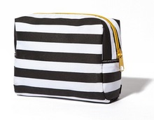 black and white stripe curtain fabric cosmetic bag bags