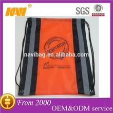 promotional high quality reflective stripe drawstring bag
