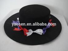 black felt flat top fedora hat with decoration, flat wide brim fedora felt hat