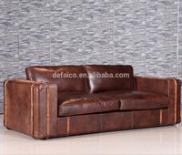 3S Antique Artist Loft Style Leather Sofa